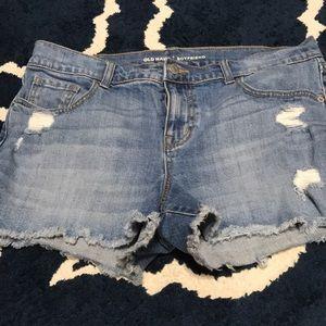 Boyfriend distressed jean shorts